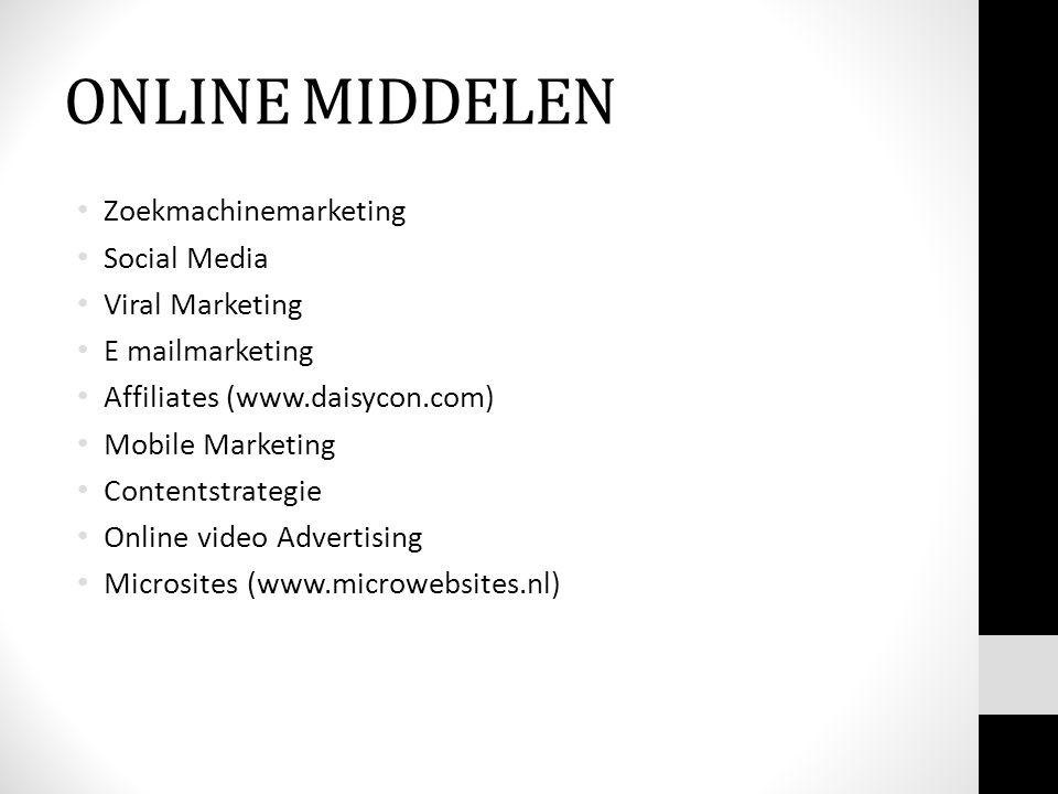 ONLINE MIDDELEN Zoekmachinemarketing Social Media Viral Marketing E mailmarketing Affiliates (www.daisycon.com) Mobile Marketing Contentstrategie Onli