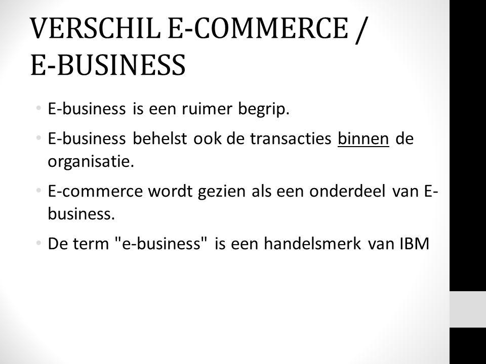 E-business is een ruimer begrip. E-business behelst ook de transacties binnen de organisatie. E-commerce wordt gezien als een onderdeel van E- busines