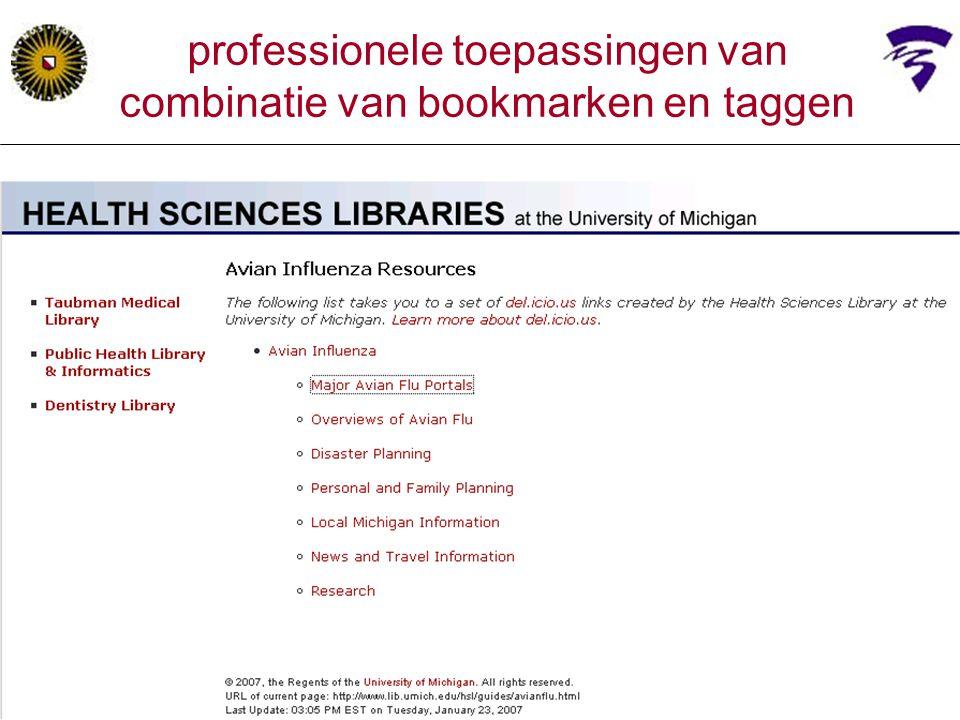 professionele toepassingen van combinatie van bookmarken en taggen
