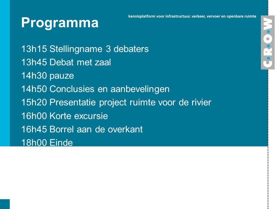 Programma 13h15 Stellingname 3 debaters 13h45 Debat met zaal 14h30 pauze 14h50 Conclusies en aanbevelingen 15h20 Presentatie project ruimte voor de ri