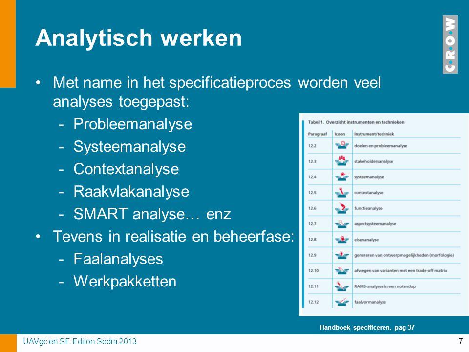 Analytisch werken Met name in het specificatieproces worden veel analyses toegepast: -Probleemanalyse -Systeemanalyse -Contextanalyse -Raakvlakanalyse