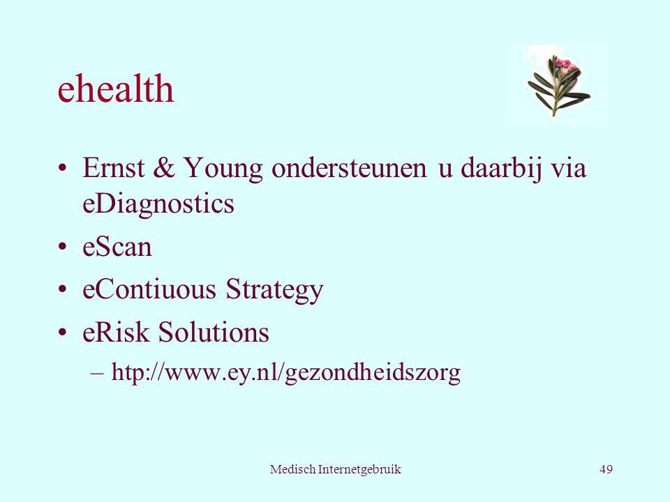 Medisch Internetgebruik49 ehealth Ernst & Young ondersteunen u daarbij via eDiagnostics eScan eContiuous Strategy eRisk Solutions –htp://www.ey.nl/gezondheidszorg