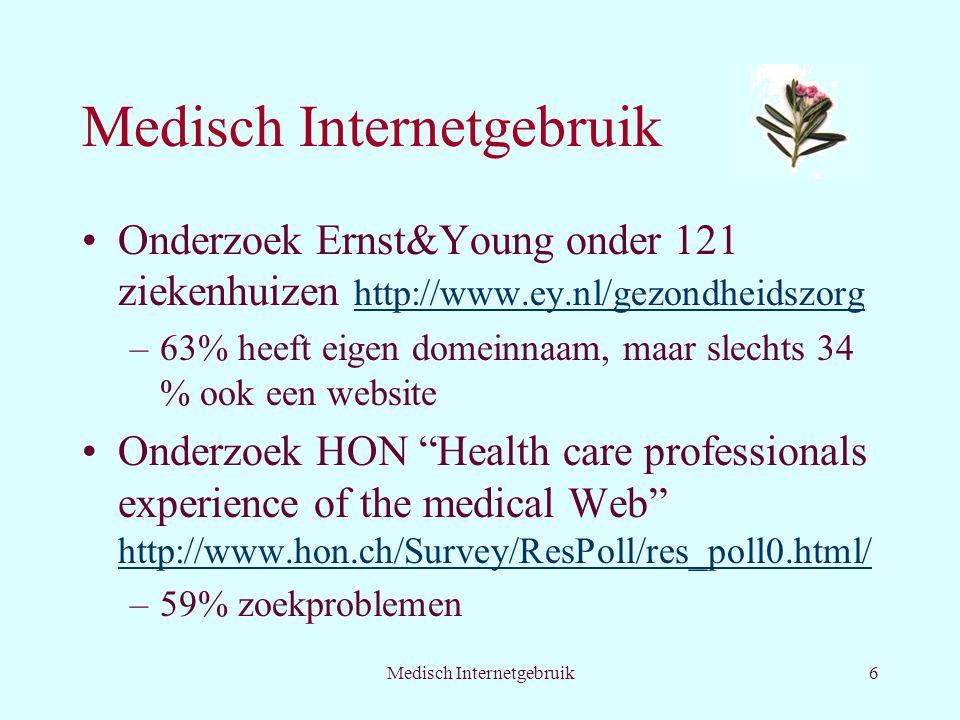 Medisch Internetgebruik6 Onderzoek Ernst&Young onder 121 ziekenhuizen http://www.ey.nl/gezondheidszorg http://www.ey.nl/gezondheidszorg –63% heeft eigen domeinnaam, maar slechts 34 % ook een website Onderzoek HON Health care professionals experience of the medical Web http://www.hon.ch/Survey/ResPoll/res_poll0.html/ http://www.hon.ch/Survey/ResPoll/res_poll0.html/ –59% zoekproblemen