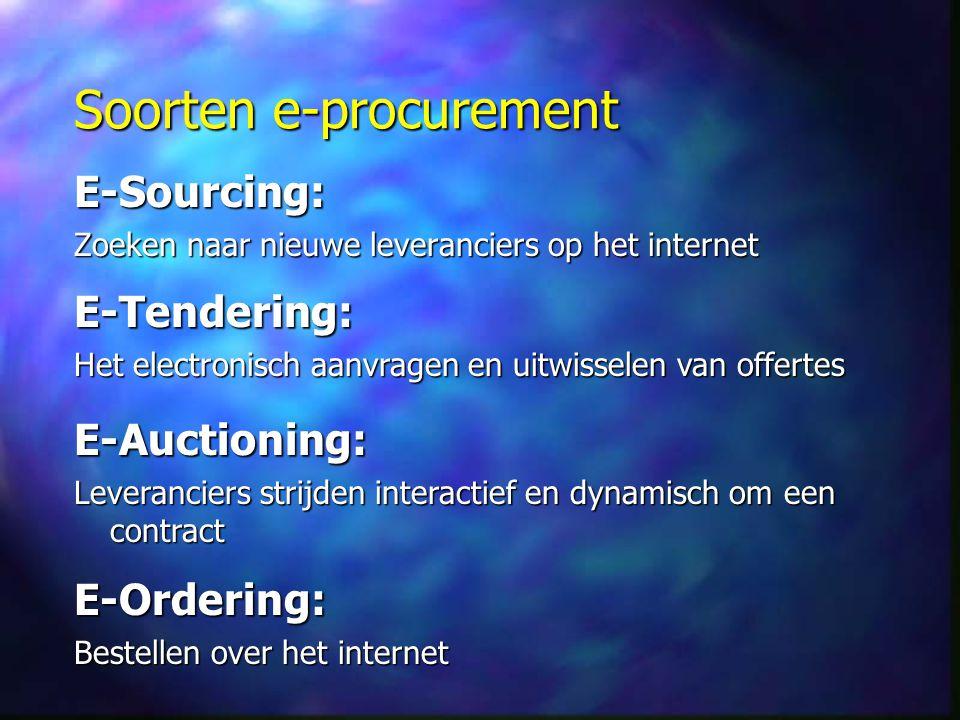 Soorten e-procurement E-Sourcing: Zoeken naar nieuwe leveranciers op het internet E-Tendering: Het electronisch aanvragen en uitwisselen van offertes