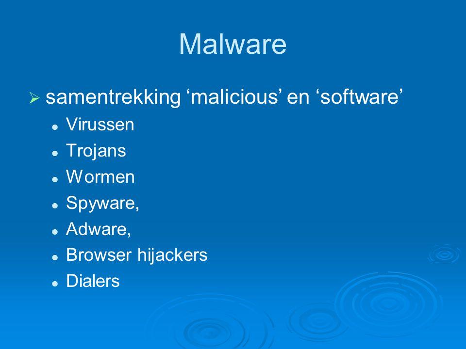 Malware   samentrekking 'malicious' en 'software' Virussen Trojans Wormen Spyware, Adware, Browser hijackers Dialers