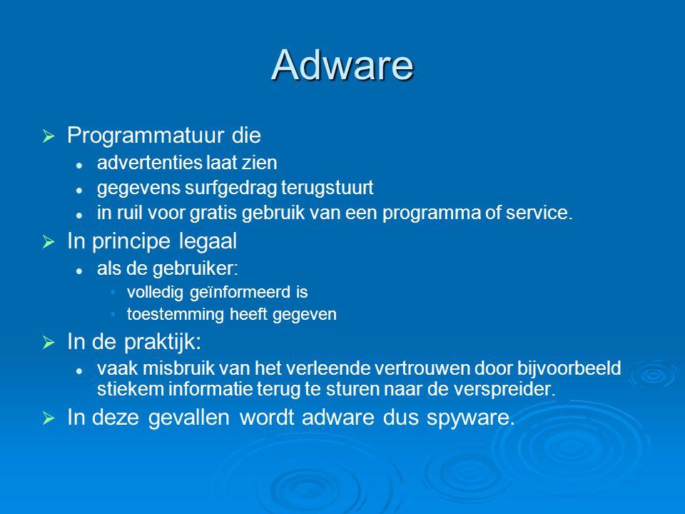 Adware   Programmatuur die advertenties laat zien gegevens surfgedrag terugstuurt in ruil voor gratis gebruik van een programma of service.   In p