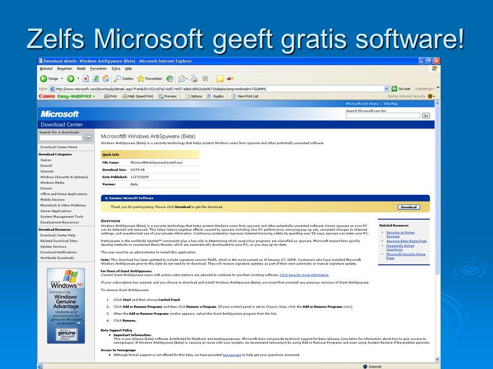 Zelfs Microsoft geeft gratis software!