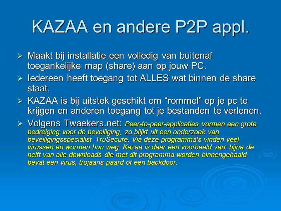 KAZAA en andere P2P appl.  Maakt bij installatie een volledig van buitenaf toegankelijke map (share) aan op jouw PC.  Iedereen heeft toegang tot ALL