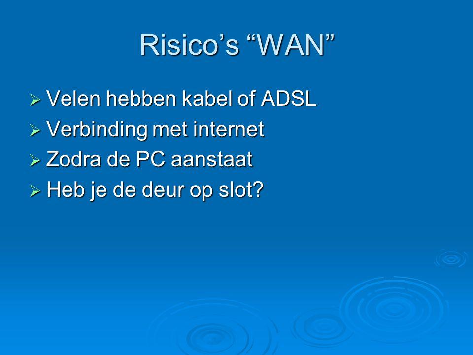 """Risico's """"WAN""""  Velen hebben kabel of ADSL  Verbinding met internet  Zodra de PC aanstaat  Heb je de deur op slot?"""