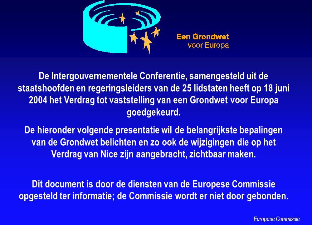 EEN VERDUIDELIJKING VAN DE BEVOEGDHEDEN Exclusieve bevoegdheden Gedeelde bevoegdheden Ondersteunend, coördinerend of aanvullend optreden Coördinatie van het economisch en werkgelegenheidsbeleid Het gemeenschappelijk buitenlands en veiligheidsbeleid Alleen de EU vaardigt wetten uit Wetgeving door de EU of de lidstaten De EU harmoniseert niet Europese Commissie