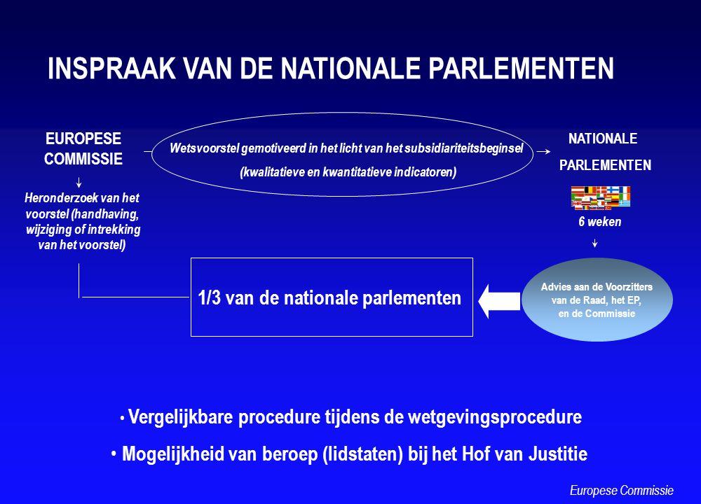 EUROPESE COMMISSIE Wetsvoorstel gemotiveerd in het licht van het subsidiariteitsbeginsel (kwalitatieve en kwantitatieve indicatoren) NATIONALE PARLEME