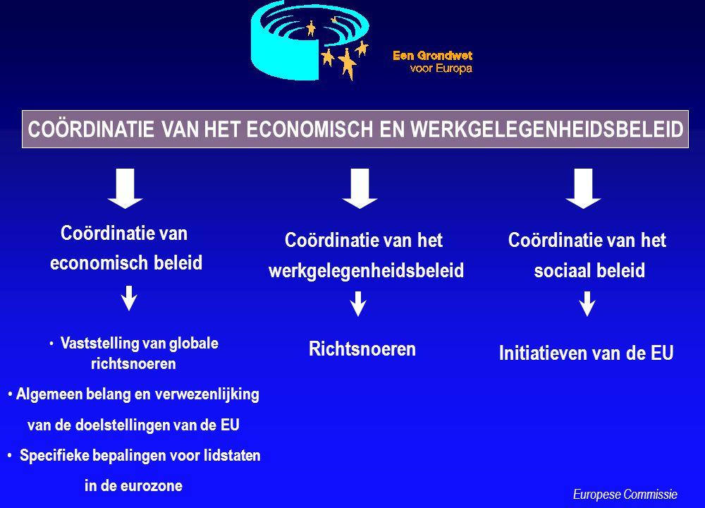 COÖRDINATIE VAN HET ECONOMISCH EN WERKGELEGENHEIDSBELEID Coördinatie van economisch beleid Vaststelling van globale richtsnoeren Algemeen belang en ve