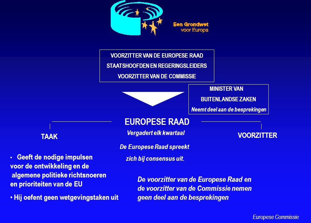 EUROPESE RAAD VOORZITTER VAN DE EUROPESE RAAD STAATSHOOFDEN EN REGERINGSLEIDERS VOORZITTER VAN DE COMMISSIE MINISTER VAN BUITENLANDSE ZAKEN Neemt deel