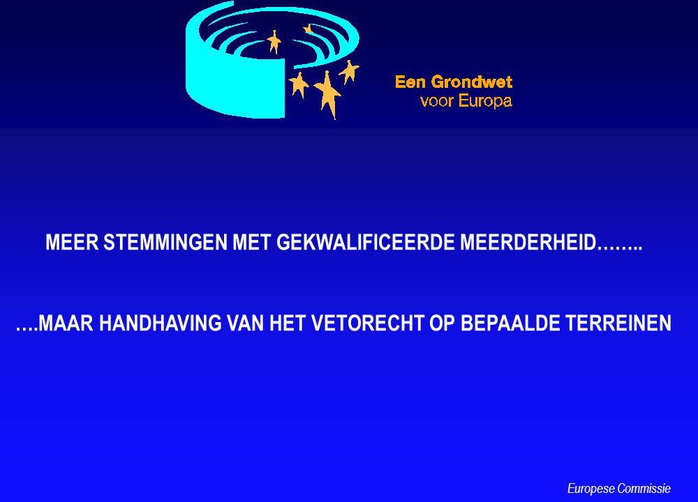 MEER STEMMINGEN MET GEKWALIFICEERDE MEERDERHEID…….. ….MAAR HANDHAVING VAN HET VETORECHT OP BEPAALDE TERREINEN Europese Commissie