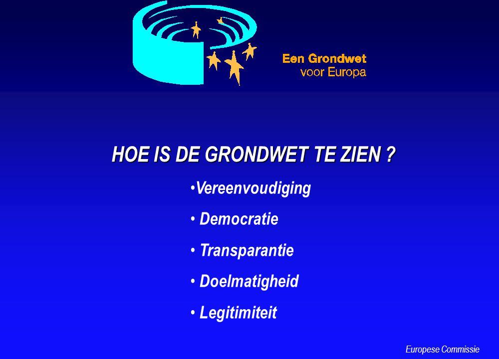 HOE IS DE GRONDWET TE ZIEN ? Vereenvoudiging Democratie Transparantie Doelmatigheid Legitimiteit Europese Commissie