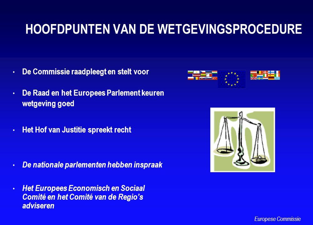HOOFDPUNTEN VAN DE WETGEVINGSPROCEDURE De Commissie raadpleegt en stelt voor De Raad en het Europees Parlement keuren wetgeving goed Het Hof van Justi