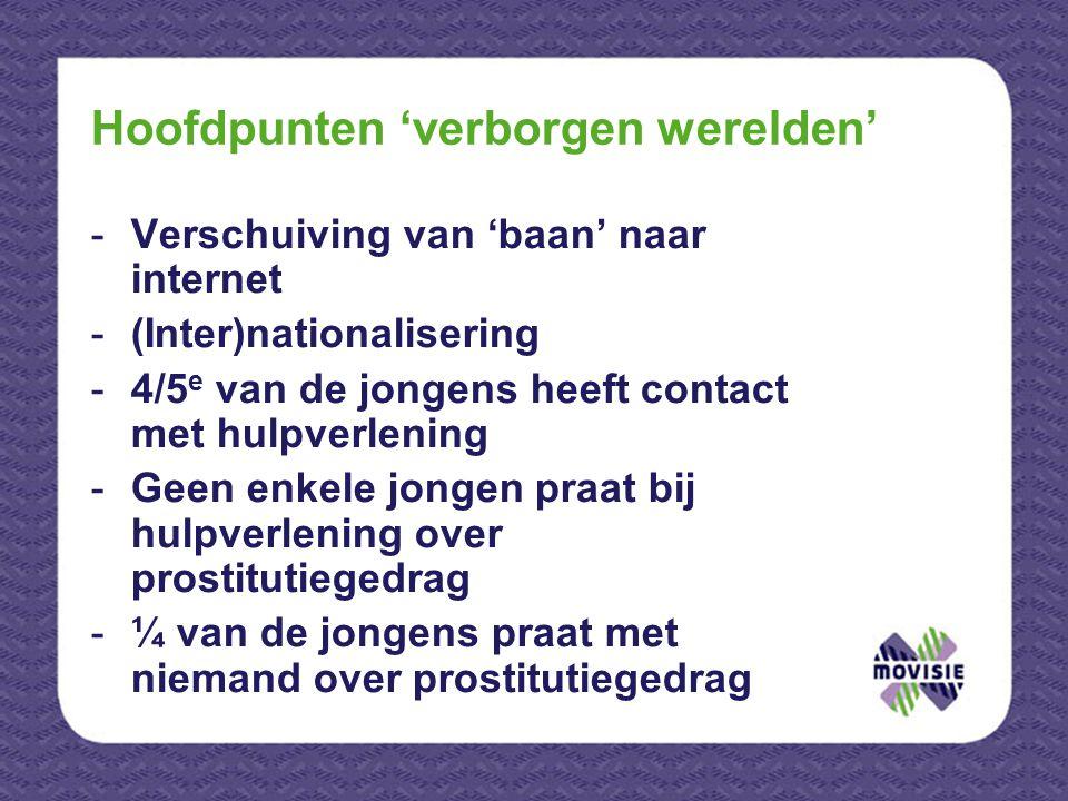 Hoofdpunten 'verborgen werelden' -Verschuiving van 'baan' naar internet -(Inter)nationalisering -4/5 e van de jongens heeft contact met hulpverlening