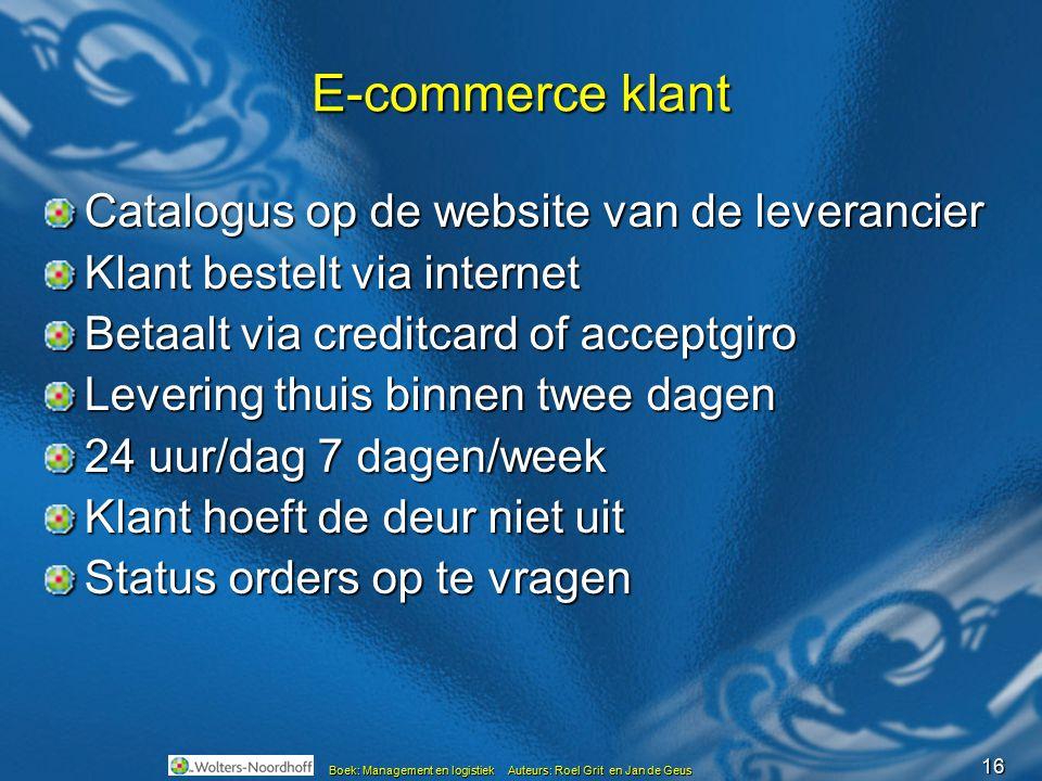 16 Boek: Management en logistiek Auteurs: Roel Grit en Jan de Geus E-commerce klant Catalogus op de website van de leverancier Klant bestelt via inter