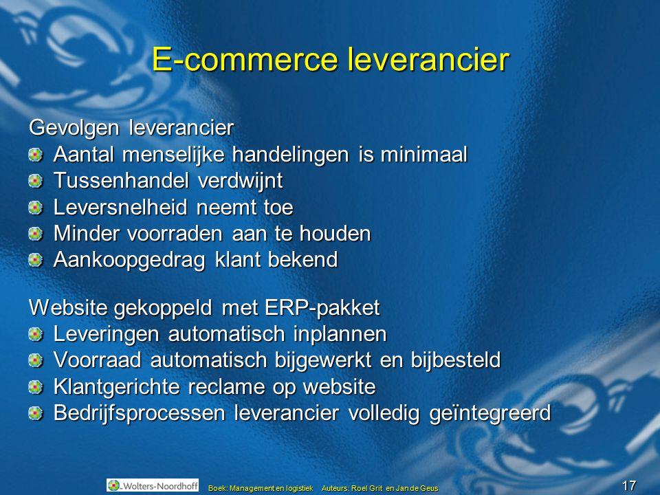 17 Boek: Management en logistiek Auteurs: Roel Grit en Jan de Geus E-commerce leverancier Gevolgen leverancier Aantal menselijke handelingen is minima