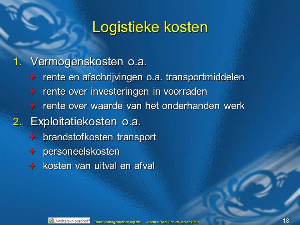 18 Boek: Management en logistiek Auteurs: Roel Grit en Jan de Geus Logistieke kosten 1. Vermogenskosten o.a.  rente en afschrijvingen o.a. transportm