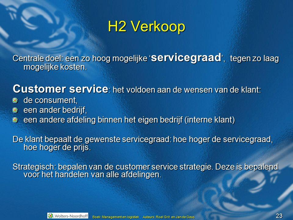 23 Boek: Management en logistiek Auteurs: Roel Grit en Jan de Geus H2 Verkoop Centrale doel: een zo hoog mogelijke ' servicegraad ', tegen zo laag mog