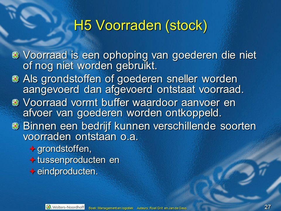 27 Boek: Management en logistiek Auteurs: Roel Grit en Jan de Geus H5 Voorraden (stock) Voorraad is een ophoping van goederen die niet of nog niet wor