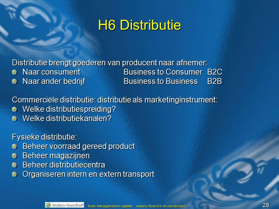 29 Boek: Management en logistiek Auteurs: Roel Grit en Jan de Geus H6 Distributie Distributie brengt goederen van producent naar afnemer: Naar consume