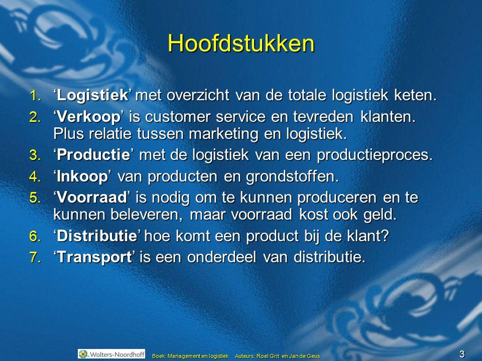 3 Boek: Management en logistiek Auteurs: Roel Grit en Jan de Geus Hoofdstukken 1. 'Logistiek' met overzicht van de totale logistiek keten. 2. 'Verkoop
