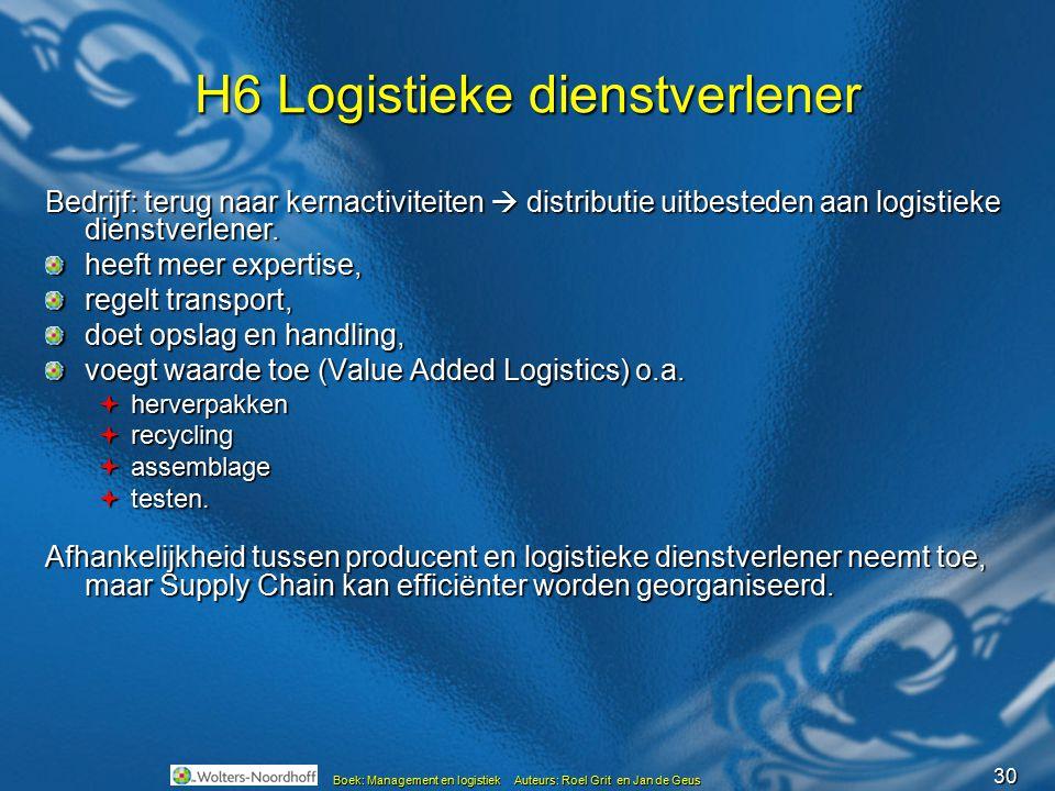 30 Boek: Management en logistiek Auteurs: Roel Grit en Jan de Geus H6 Logistieke dienstverlener Bedrijf: terug naar kernactiviteiten  distributie uit