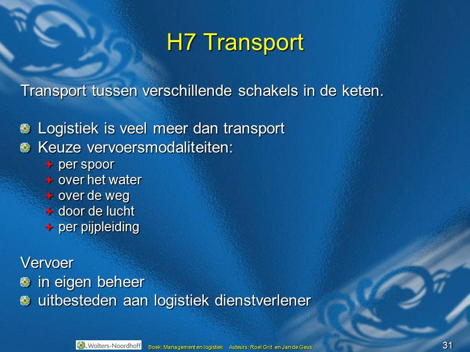 31 Boek: Management en logistiek Auteurs: Roel Grit en Jan de Geus H7 Transport Transport tussen verschillende schakels in de keten. Logistiek is veel