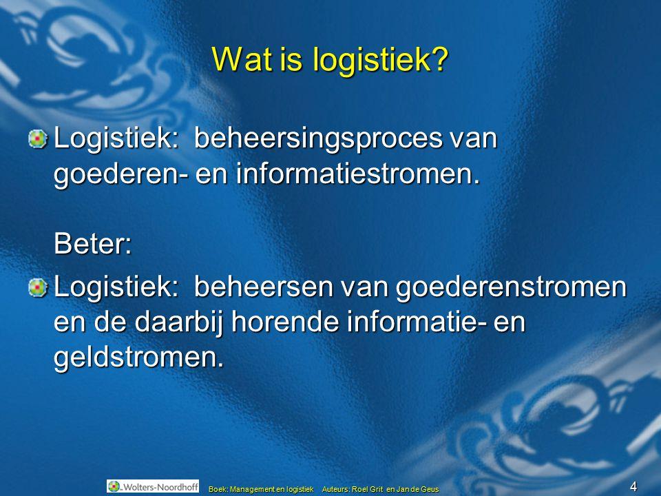 4 Boek: Management en logistiek Auteurs: Roel Grit en Jan de Geus Wat is logistiek? Logistiek: beheersingsproces van goederen- en informatiestromen. B
