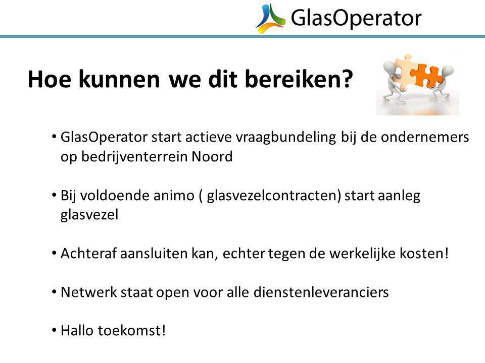 Hoe kunnen we dit bereiken? GlasOperator start actieve vraagbundeling bij de ondernemers op bedrijventerrein Noord Bij voldoende animo ( glasvezelcont
