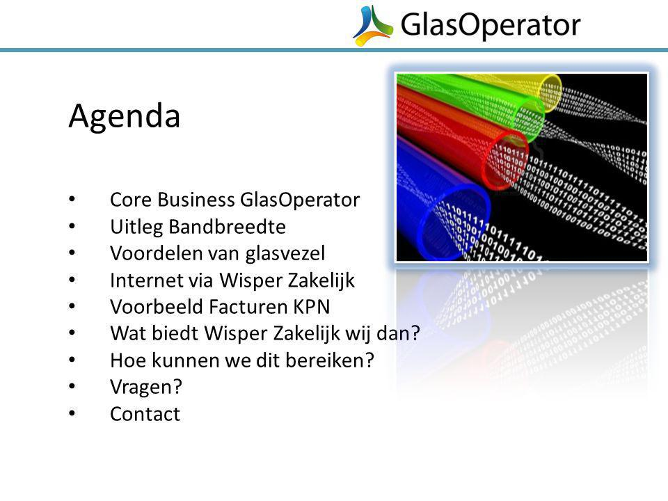 Agenda Core Business GlasOperator Uitleg Bandbreedte Voordelen van glasvezel Internet via Wisper Zakelijk Voorbeeld Facturen KPN Wat biedt Wisper Zake