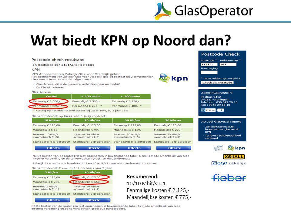 Wat biedt KPN op Noord dan? Resumerend: 10/10 Mbit/s 1:1 Eenmalige kosten € 2.125,- Maandelijkse kosten € 775,-
