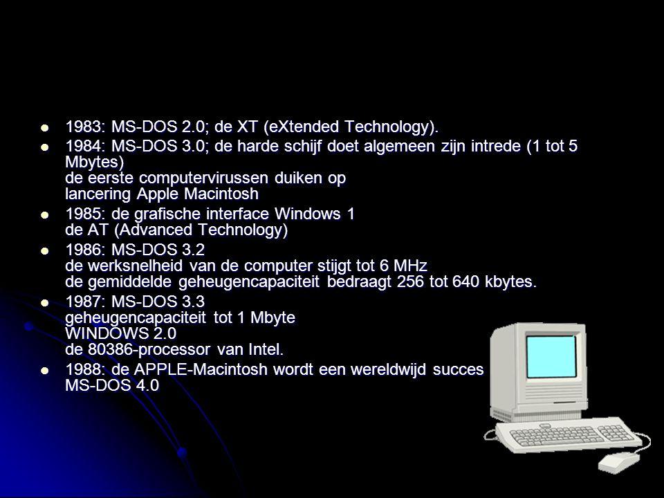1983: MS-DOS 2.0; de XT (eXtended Technology). 1983: MS-DOS 2.0; de XT (eXtended Technology). 1984: MS-DOS 3.0; de harde schijf doet algemeen zijn int