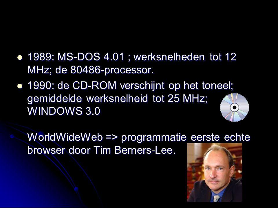 1989: MS-DOS 4.01 ; werksnelheden tot 12 MHz; de 80486-processor. 1989: MS-DOS 4.01 ; werksnelheden tot 12 MHz; de 80486-processor. 1990: de CD-ROM ve