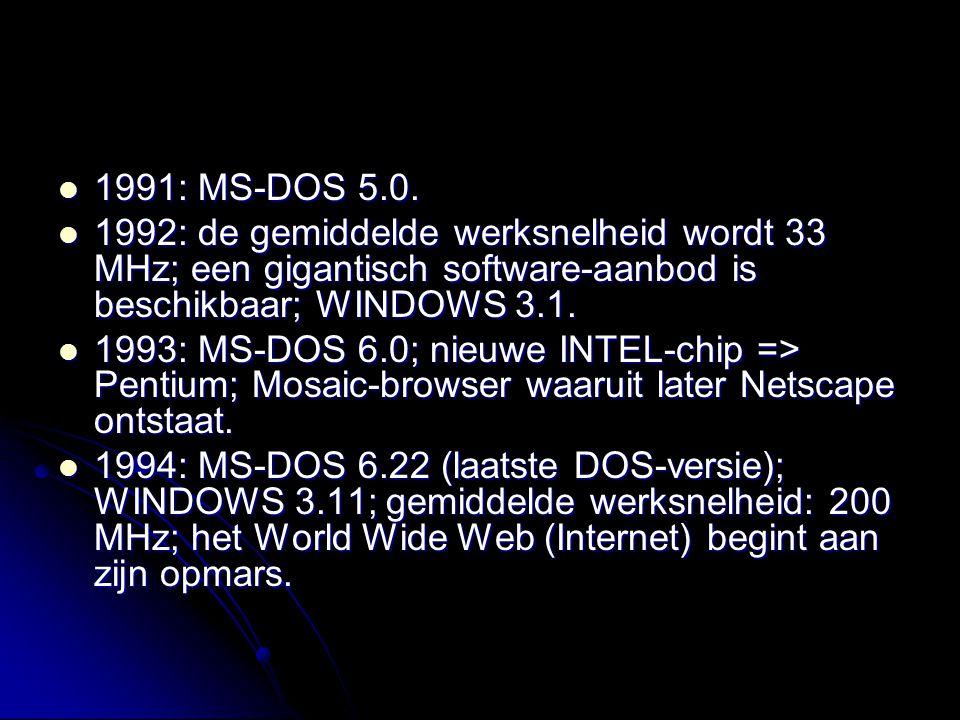 1991: MS-DOS 5.0. 1991: MS-DOS 5.0. 1992: de gemiddelde werksnelheid wordt 33 MHz; een gigantisch software-aanbod is beschikbaar; WINDOWS 3.1. 1992: d