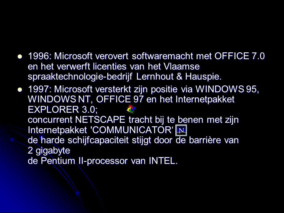 1996: Microsoft verovert softwaremacht met OFFICE 7.0 en het verwerft licenties van het Vlaamse spraaktechnologie-bedrijf Lernhout & Hauspie. 1996: Mi