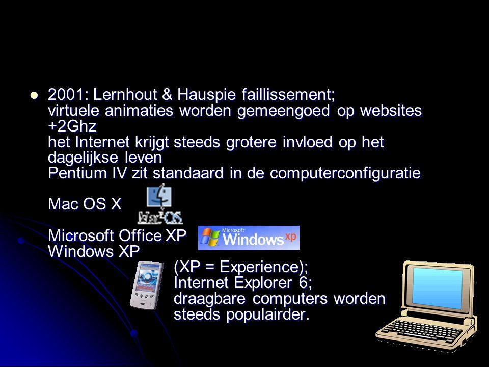 2001: Lernhout & Hauspie faillissement; virtuele animaties worden gemeengoed op websites +2Ghz het Internet krijgt steeds grotere invloed op het dagel