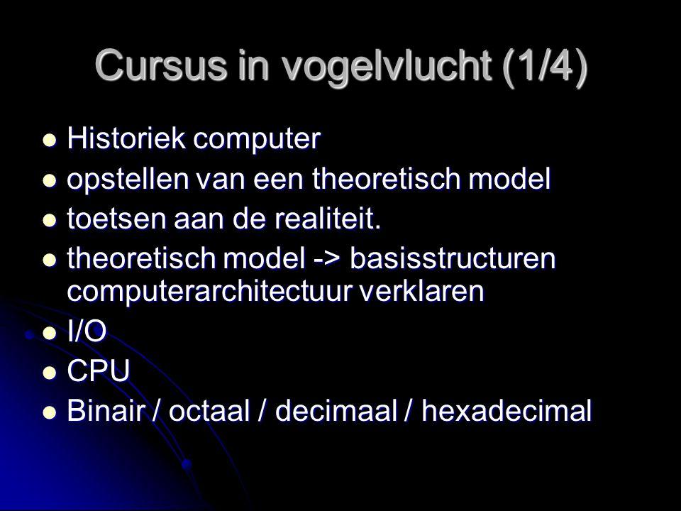 Cursus in vogelvlucht (1/4) Historiek computer Historiek computer opstellen van een theoretisch model opstellen van een theoretisch model toetsen aan