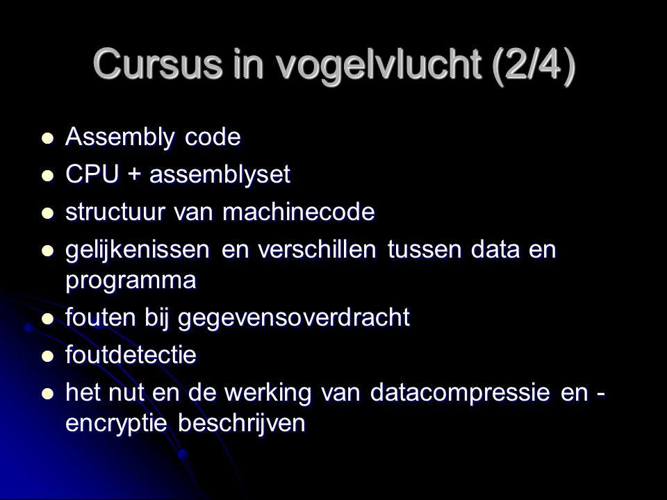 Cursus in vogelvlucht (3/4) samenwerking van processor en geheugen samenwerking van processor en geheugen busgeoriënteerd model busgeoriënteerd model voordelen en nadelen van dit model voordelen en nadelen van dit model I/O positionering t.o.v.