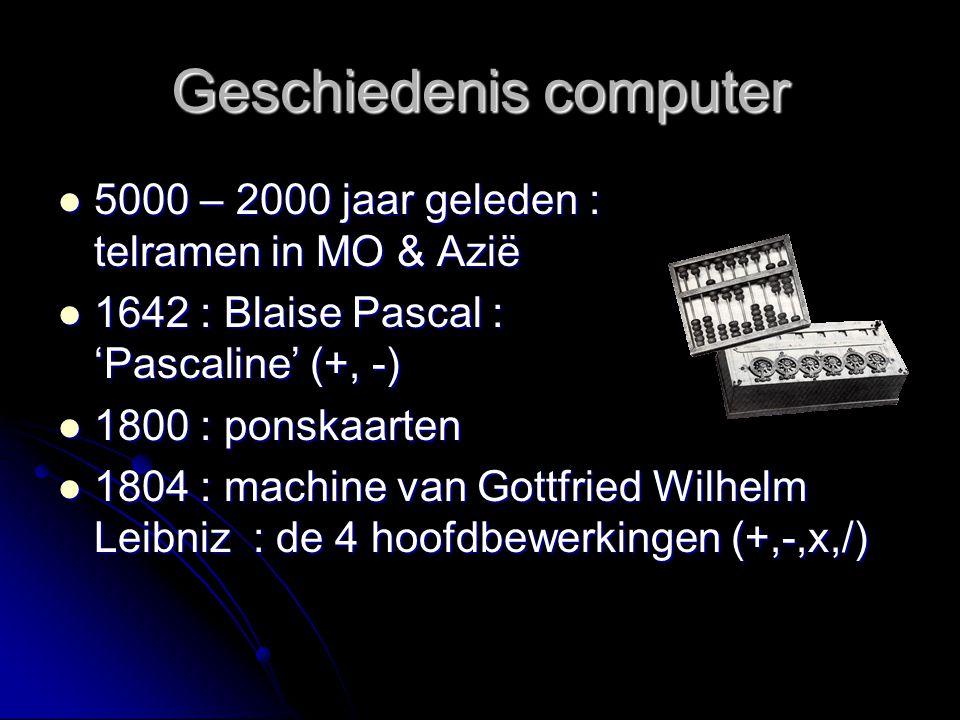 1823 : Charles Babbage : differentiële en analytisch rekenmachine (nooit afgewerkt) 1823 : Charles Babbage : differentiële en analytisch rekenmachine (nooit afgewerkt) 1924: IBM (International Business Machines Corporation) opgericht : gebruik van ponstkaarten voor gegevensopslag.