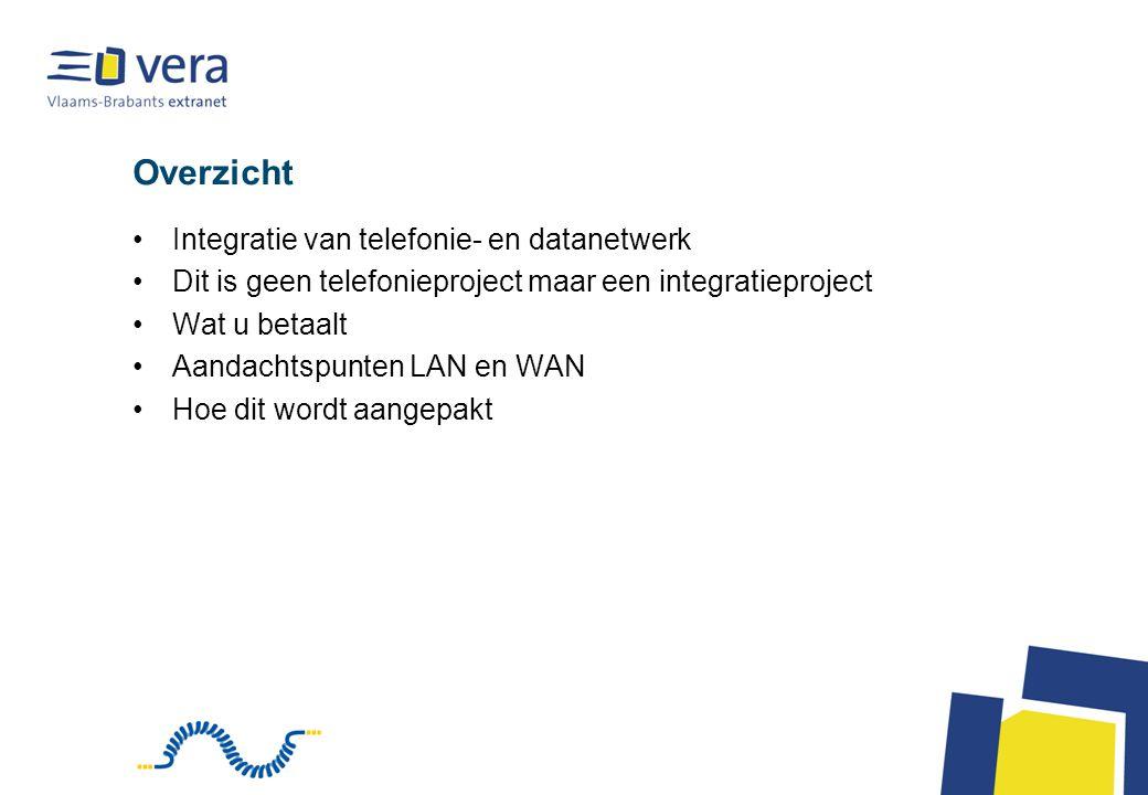 Overzicht Integratie van telefonie- en datanetwerk Dit is geen telefonieproject maar een integratieproject Wat u betaalt Aandachtspunten LAN en WAN Ho