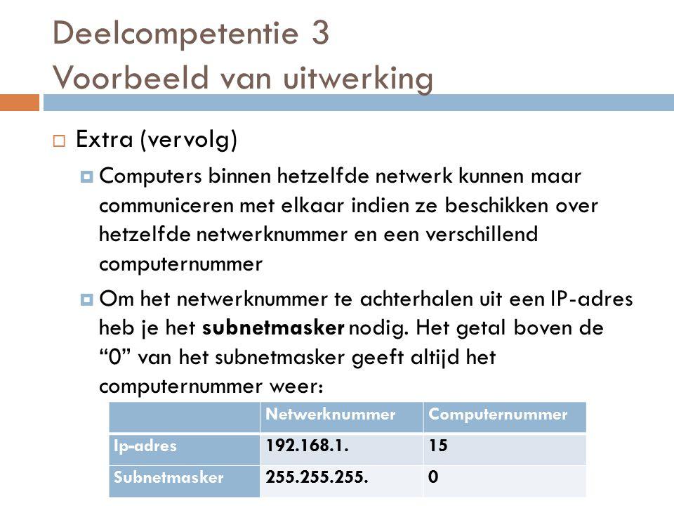  Extra (vervolg)  Computers binnen hetzelfde netwerk kunnen maar communiceren met elkaar indien ze beschikken over hetzelfde netwerknummer en een verschillend computernummer  Om het netwerknummer te achterhalen uit een IP-adres heb je het subnetmasker nodig.