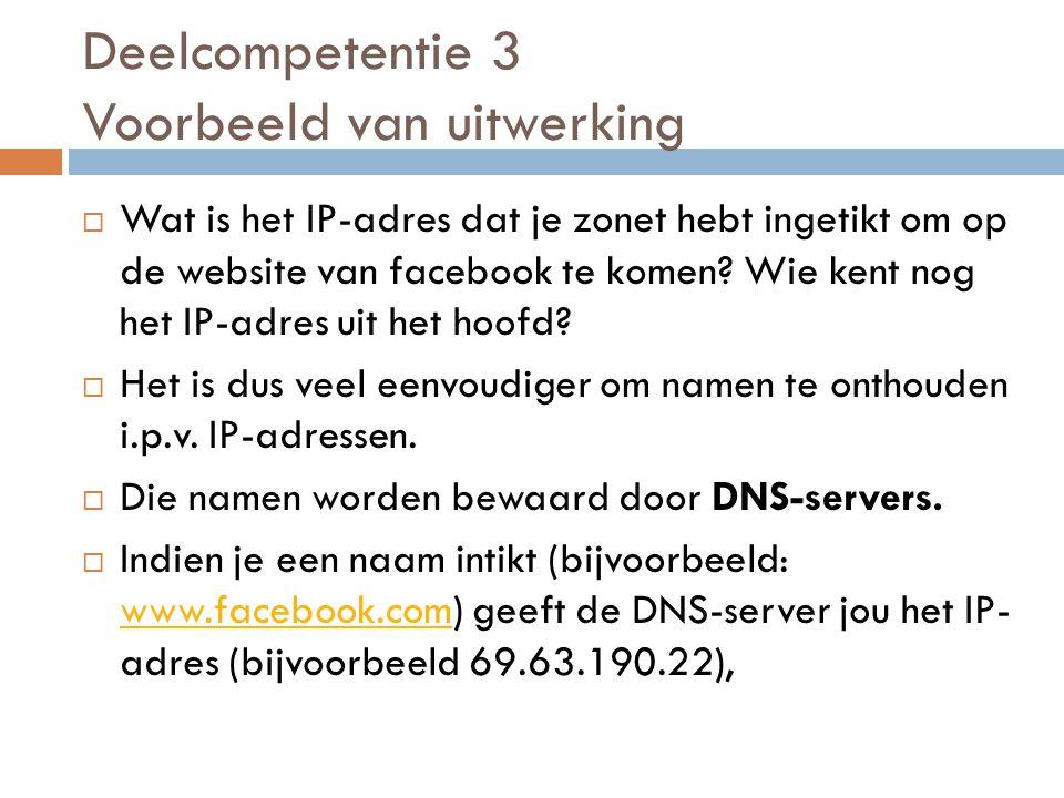  Wat is het IP-adres dat je zonet hebt ingetikt om op de website van facebook te komen.