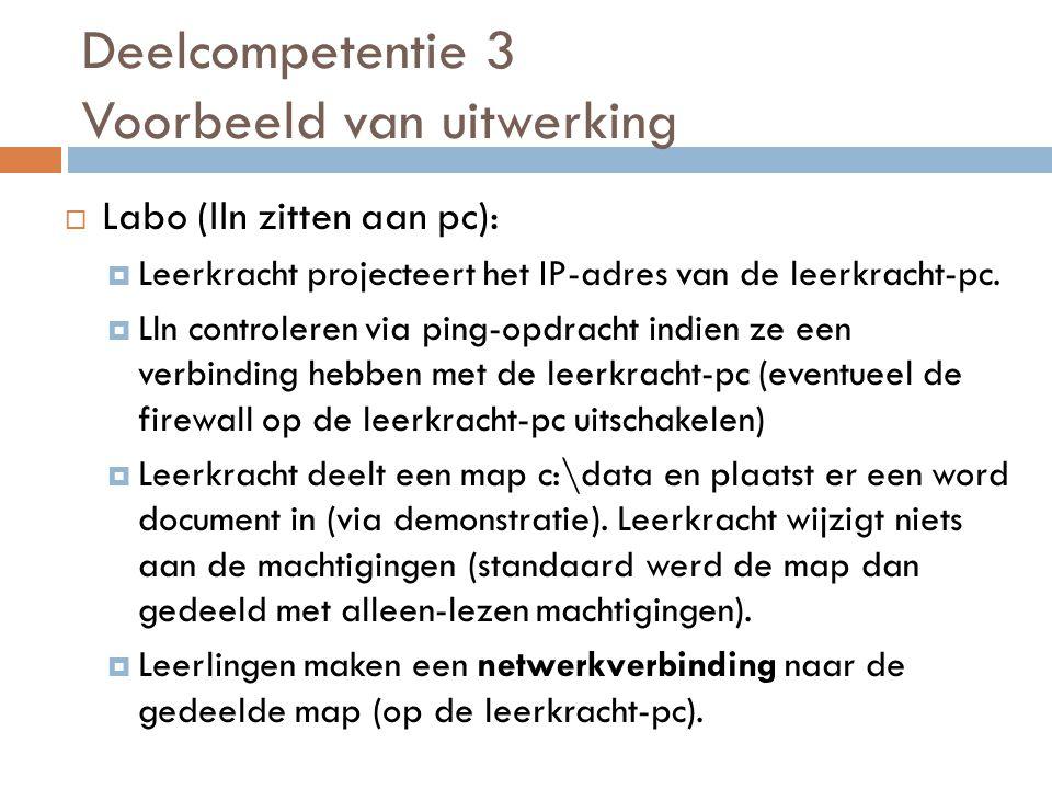  Labo (lln zitten aan pc):  Leerkracht projecteert het IP-adres van de leerkracht-pc.
