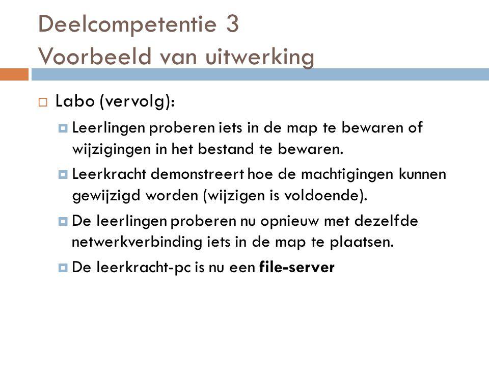  Labo (vervolg):  Leerlingen proberen iets in de map te bewaren of wijzigingen in het bestand te bewaren.