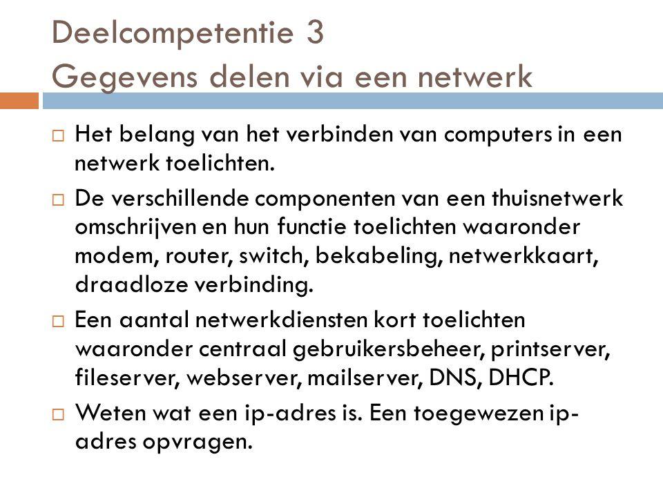 Deelcompetentie 3 Gegevens delen via een netwerk  Het belang van het verbinden van computers in een netwerk toelichten.