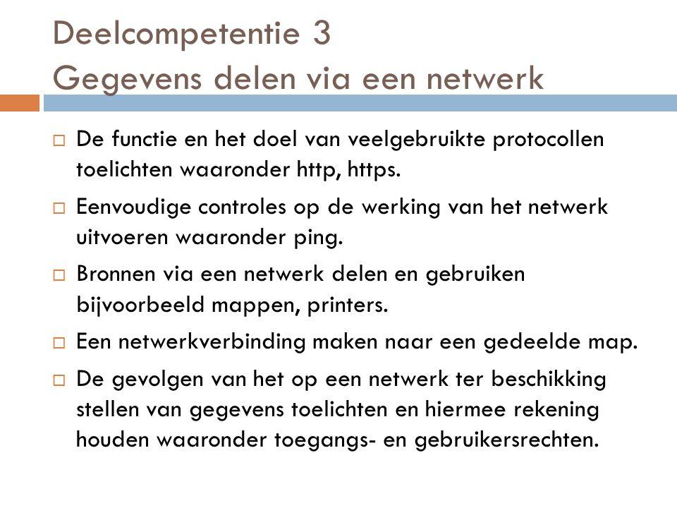 Deelcompetentie 3 Gegevens delen via een netwerk