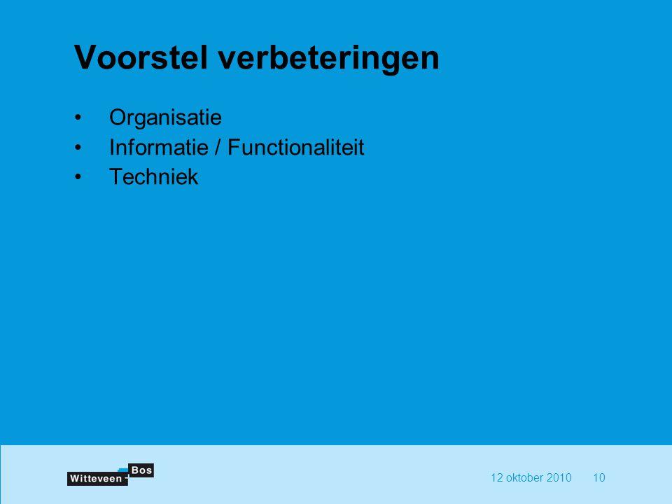 12 oktober 201010 Voorstel verbeteringen Organisatie Informatie / Functionaliteit Techniek